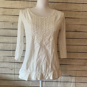 Anthropologie Meadow Rue White Lace Top